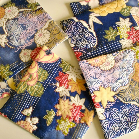 Quilted Tea Mats / Coasters / Spring Home / Japanese Imagery Fabric / Simple Kitchen Set of 6