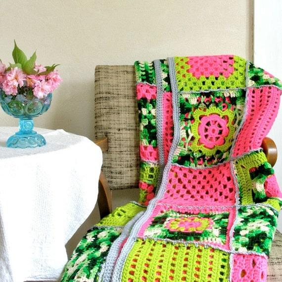 Neon Sampler Afghan Virgin Wool New Granny Style Hot Pink Acid Lime Green