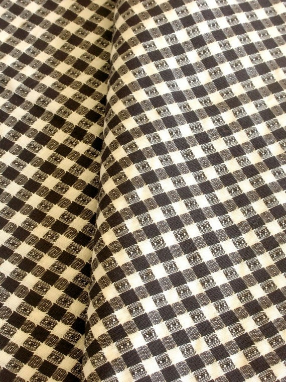 Vintage Fabric Cotton Blend Small Check Print Textured Black & White Nearly 3 Yards