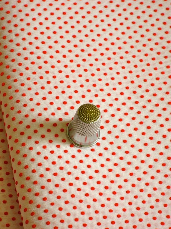 Classic Vintage Dotted Swiss Fabric Red Dots Nylon Blend 7 Yards