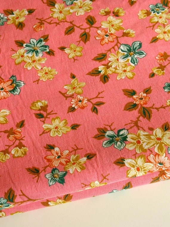 Vintage Pink Floral Fabric Pretty Summer Print Heavy Weight All Cotton 4 Plus Yards
