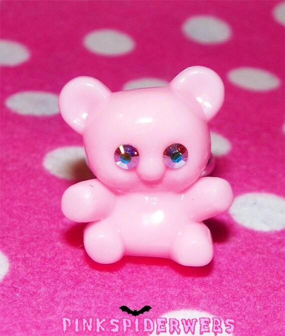 Pink Kawaii Teddy Bear Ring
