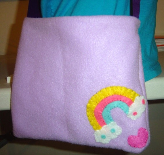 Purple Over the Rainbow Clouds Purse