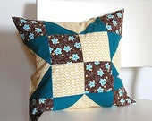 PIF Teal Brown Quilt Block Patchwork Pillow Cover 16-inch - Pay it Forward