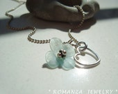 Lucite Flower with Sterling Silver Heat and SterlingSilver Necklace