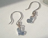 Tiny dainty hammered Silver Heart Earrings