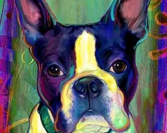Boston Terrier Print, Blue Dog on Canvas