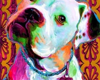 American Bulldog Canvas Print Bright Colors ( Riley)