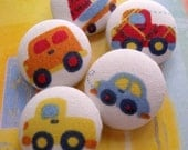 zoom zoom - 5 fabric covered buttons