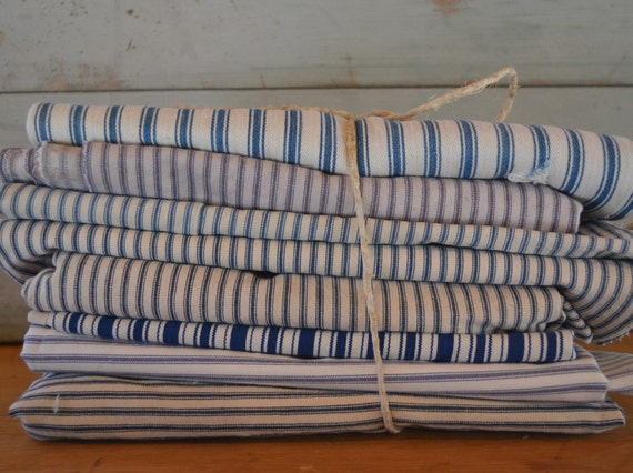 big bundle of vintage blue ticking fabric for project making