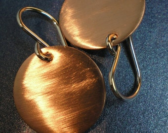 Brushed Copper Discs - Earrings - Sultry - Fabulous