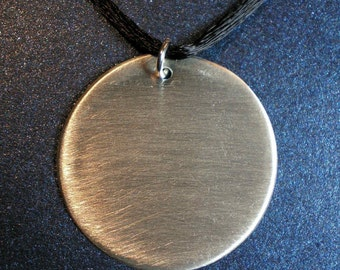 Argentium Sterling Disc Pendant - Brushed Finish