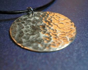 Hammered Argentium Sterling Silver Disc Pendant
