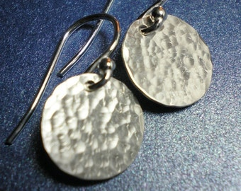 Argentium Sterling Silver Hammered Disc Earrings - Mini Version RW