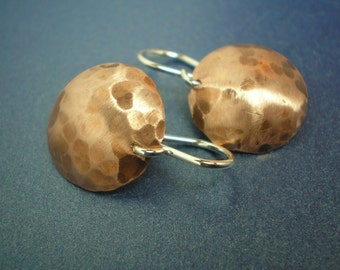 Copper Domes For Your Head - Hammered Earrings