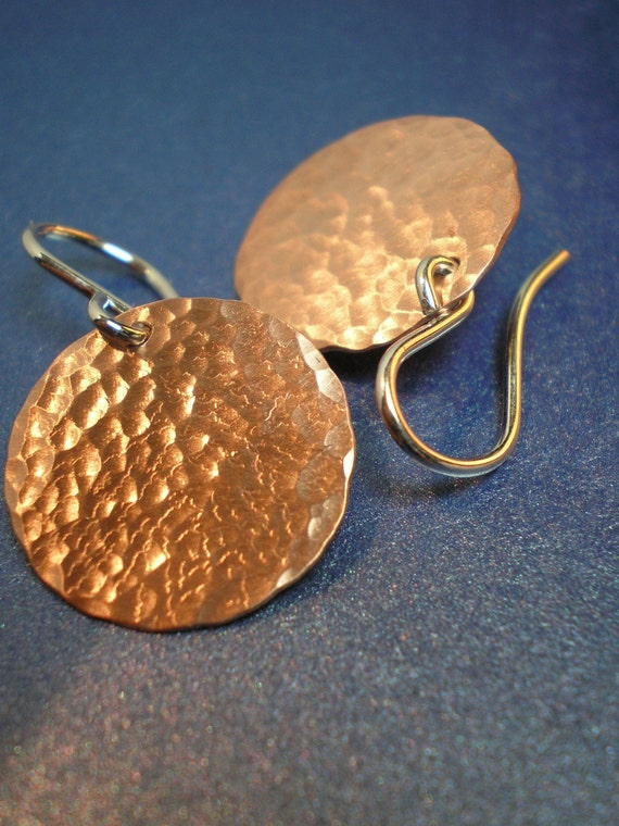If I Had a Hammer - Hammered Copper Discs - Earrings