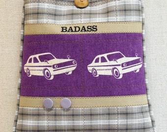 Cross Body Bag -  BADASS - Violet and Tan - Cars