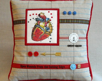 Mini Art Quilt Pillow - Open Wounds From the Cutting Edge