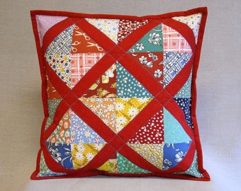 Quilted Pillow - Lattice Pattern - Feedsack  Prints