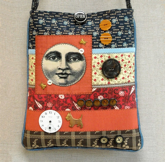 Art Quilt Cross Body Bag - Pouch - Moonshine