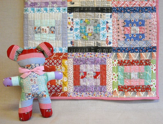 Baby Girl Quilt -  Courthouse Steps Feedsack Quilt