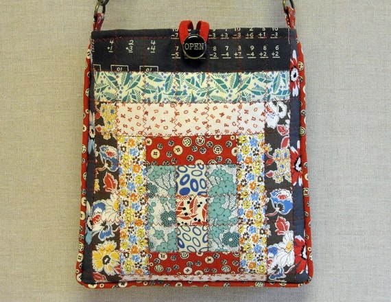 Quilted  Cross  Body Bag - Courthouse Steps Scrap Block