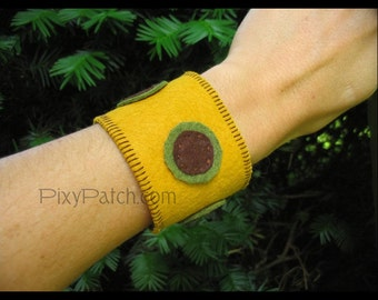 Retro Circles Wool Felt Wrist Cuff - SALE