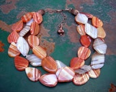 SPRING CLEARANCE - TAKE 40 PERCENT OFF - ORANGE AND GREY ROCK CANDY Glorious striped agate with copper