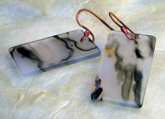 Luminous Agate Rectangles And Rosey Copper Earrings