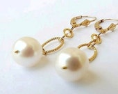 Pearl Earrings 24K Gold White Pearl Drop Earrings