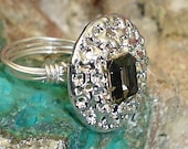 Black Brilliant cut Ring Swarovski Crystal Sterling Silver Antique Button 1950s Wire Ring