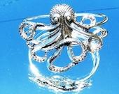 Octopus Silver Cuff  Bracelet