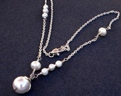 White Freshwater Pearl Necklace, Fine silver Floral Bridesmaid Valentines day gift