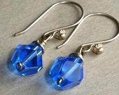 Sapphire Earrings, Sterling Silver Wedding, Bridal, Bridesmaid Gift