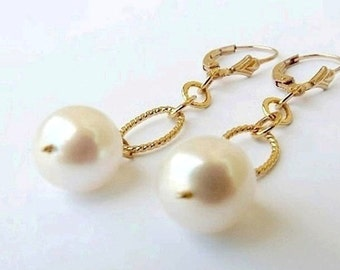 South Sea Pearl Earrings 24K Gold White Pearl Drop Earrings