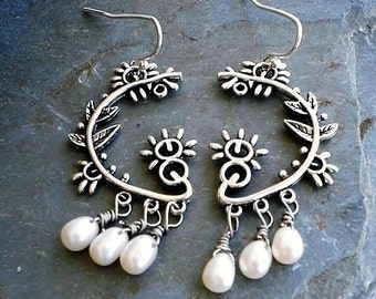 White Freshwater Pearls Chandelier Earrings Sterling silver bridal Wedding Earrings