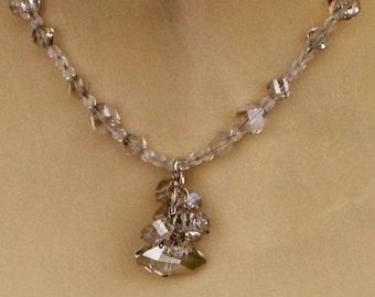Necklace and Earrings Set Swarovski Crystal Cluster Wedding set jewelry