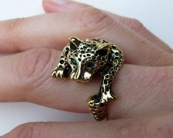 Leopard Emerald Green Rhinestone Wrap Gold Brass Ring