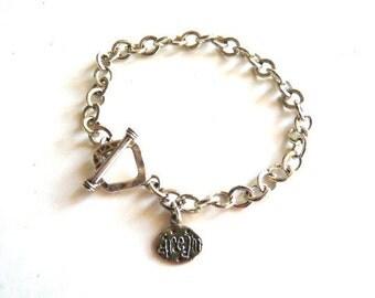 Sterling Silver bracelet DREAM Charm Stamped Chain Links Bracelet