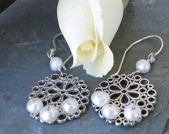 Pearl Earrings Honeycomb Foral Sterling Silver Dangle earrings