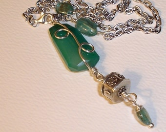 Peruvian Opal and Kyanite Necklace Sterling Silver