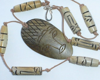 Wooden necklace AZTEC Tiki hand knot leather wooden carved Tribal necklace