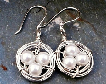 Birds Nest Freshwater Pearl, Stirling Silver Wire Wrapped Earrings Bridesmaid Earrings, Bridesmaid Jewelry