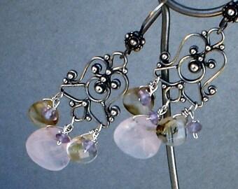 Rose Quartz, Rutile Quartz, Amethyst Chandelier Sterling Silver Earrings