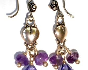 Amethyst Earrings Heart Sterling Silver, Bridesmaid Earrings