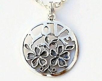 LOVE Pendant Necklace Floral Sterling Silver Love Chain neckalce
