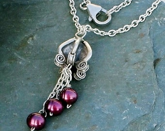 Burgundy Freshwater Pearl Pendant Chain Sterling Silver drop charm