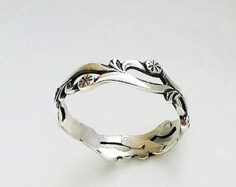 Dandelions band ring Sterling Silver Wedding Bridesmaid ring