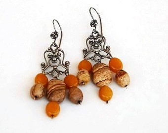 Picture Jasper Chandelier Earrings Bali Sterling Silver Dangle drop Earrings