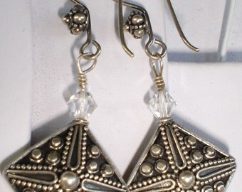 Ornate Earrings Sterling Silver Swarovski Crystal Bridal Earrings